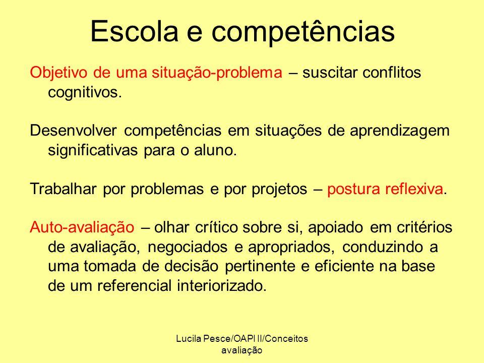 Lucila Pesce/OAPI II/Conceitos avaliação Escola e competências Objetivo de uma situação-problema – suscitar conflitos cognitivos. Desenvolver competên