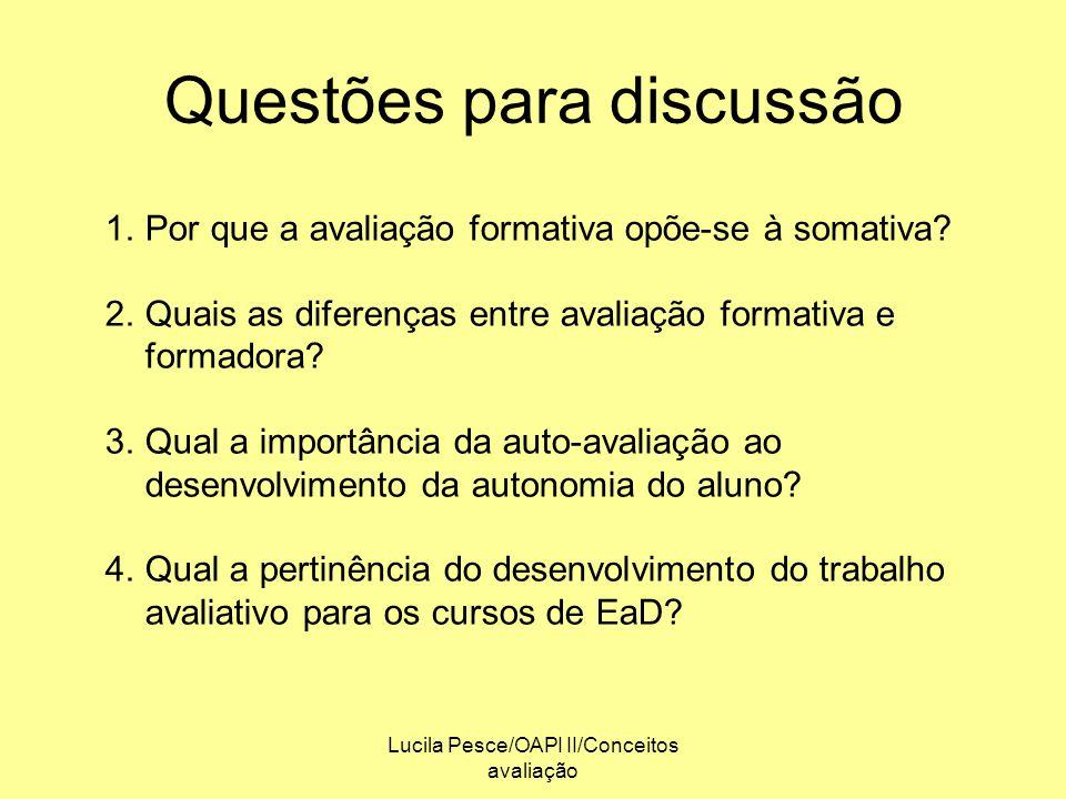 Lucila Pesce/OAPI II/Conceitos avaliação Questões para discussão 1.Por que a avaliação formativa opõe-se à somativa? 2.Quais as diferenças entre avali