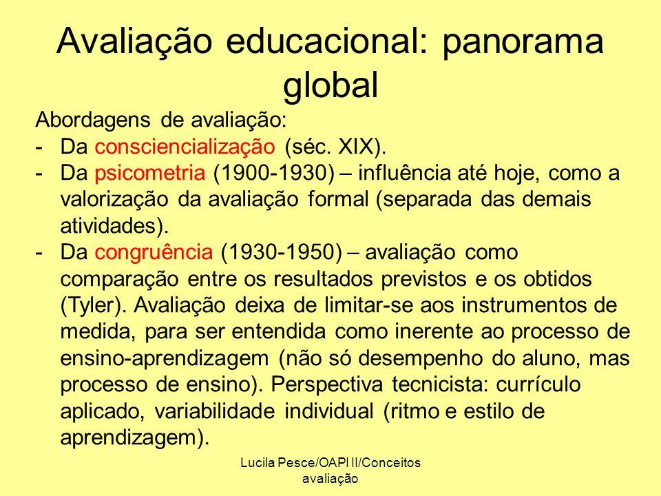 Lucila Pesce/OAPI II/Conceitos avaliação Avaliação educacional: panorama global Abordagens de avaliação: -Da consciencialização (séc. XIX). -Da psicom
