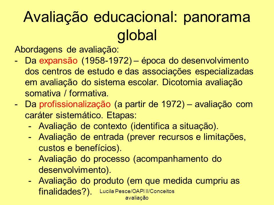 Lucila Pesce/OAPI II/Conceitos avaliação Avaliação educacional: panorama global Abordagens de avaliação: -Da expansão (1958-1972) – época do desenvolv