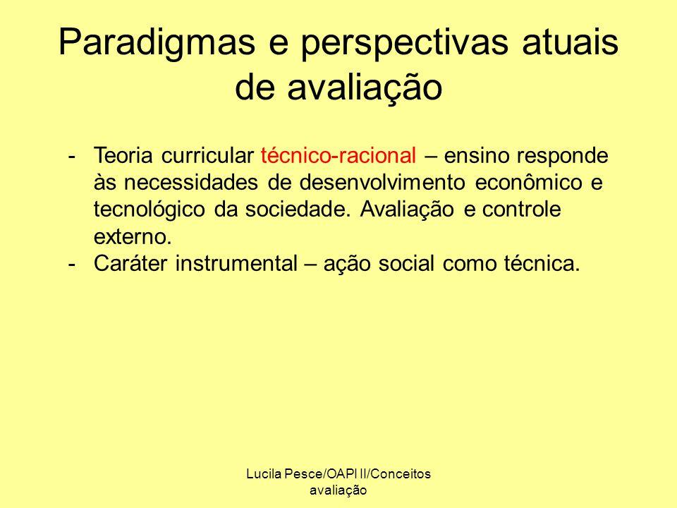 Lucila Pesce/OAPI II/Conceitos avaliação Paradigmas e perspectivas atuais de avaliação -Teoria curricular técnico-racional – ensino responde às necess