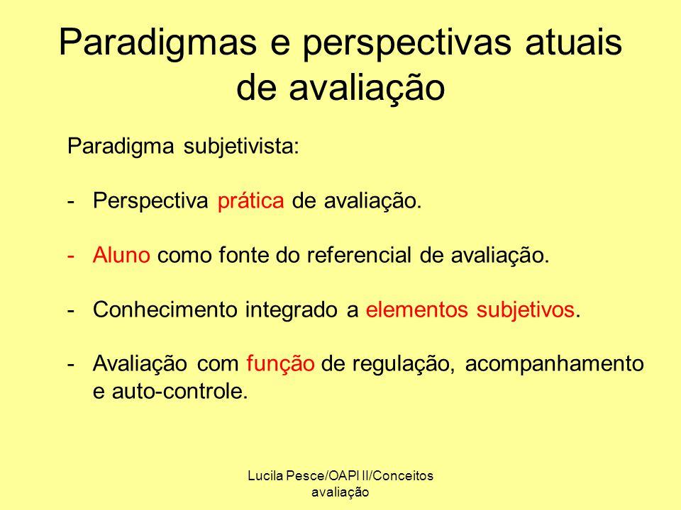 Lucila Pesce/OAPI II/Conceitos avaliação Paradigmas e perspectivas atuais de avaliação Paradigma subjetivista: -Perspectiva prática de avaliação. -Alu