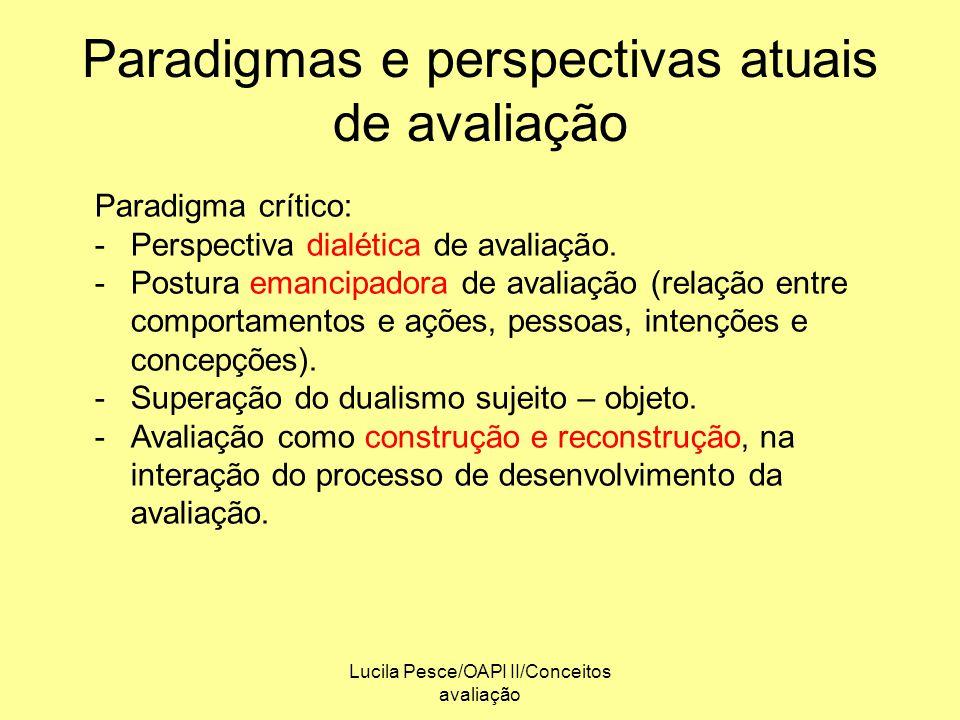 Lucila Pesce/OAPI II/Conceitos avaliação Paradigmas e perspectivas atuais de avaliação Paradigma crítico: -Perspectiva dialética de avaliação. -Postur