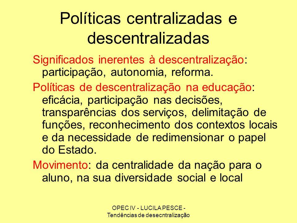 OPEC IV - LUCILA PESCE - Tendências de desecntralização Políticas centralizadas e descentralizadas Significados inerentes à descentralização: particip