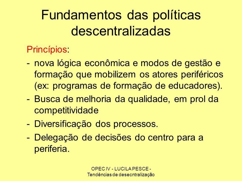 OPEC IV - LUCILA PESCE - Tendências de desecntralização Fundamentos das políticas descentralizadas Princípios: -nova lógica econômica e modos de gestã