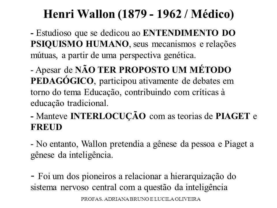 PROFAS. ADRIANA BRUNO E LUCILA OLIVEIRA Henri Wallon (1879 - 1962 / Médico) - Apesar de NÃO TER PROPOSTO UM MÉTODO PEDAGÓGICO, participou ativamente d