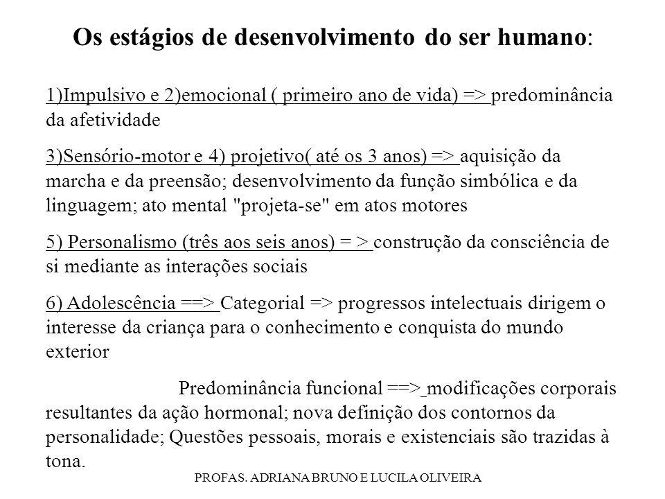 PROFAS. ADRIANA BRUNO E LUCILA OLIVEIRA Os estágios de desenvolvimento do ser humano: 1)Impulsivo e 2)emocional ( primeiro ano de vida) => predominânc