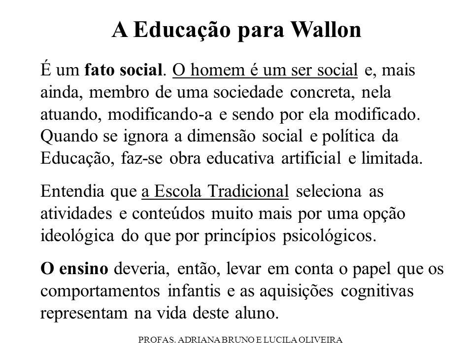 PROFAS. ADRIANA BRUNO E LUCILA OLIVEIRA A Educação para Wallon É um fato social. O homem é um ser social e, mais ainda, membro de uma sociedade concre