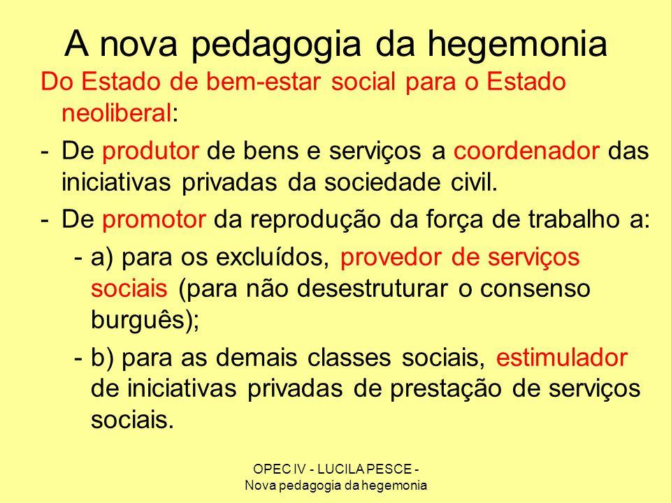 OPEC IV - LUCILA PESCE - Nova pedagogia da hegemonia A nova pedagogia da hegemonia Do Estado de bem-estar social para o Estado neoliberal: -De produto