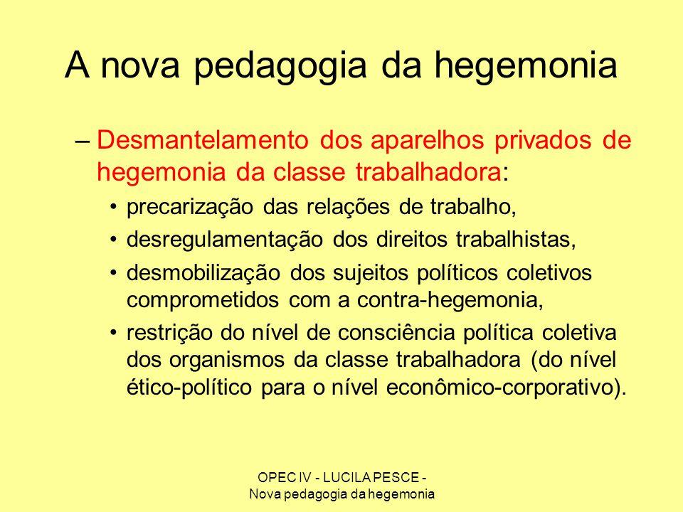 OPEC IV - LUCILA PESCE - Nova pedagogia da hegemonia A nova pedagogia da hegemonia –Desmantelamento dos aparelhos privados de hegemonia da classe trab