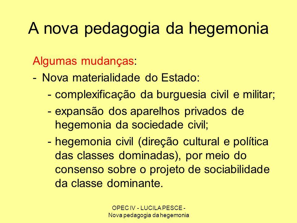 OPEC IV - LUCILA PESCE - Nova pedagogia da hegemonia A nova pedagogia da hegemonia Algumas mudanças: -Nova materialidade do Estado: -complexificação d
