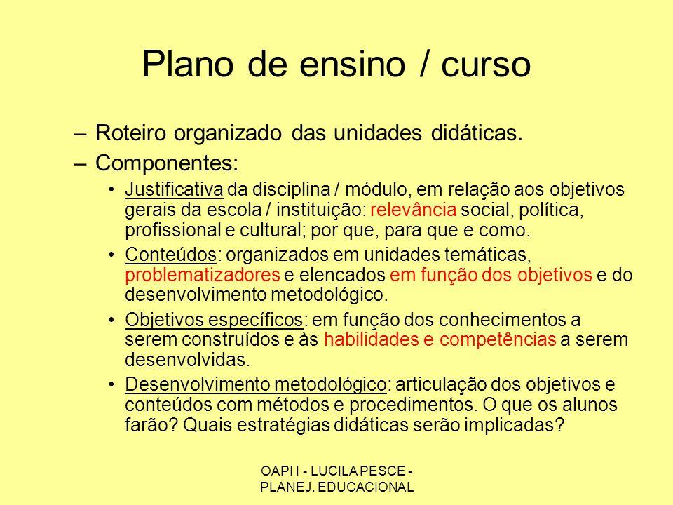 OAPI I - LUCILA PESCE - PLANEJ. EDUCACIONAL Plano de ensino / curso –Roteiro organizado das unidades didáticas. –Componentes: Justificativa da discipl