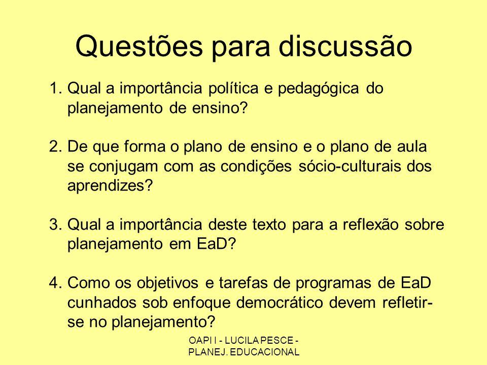 OAPI I - LUCILA PESCE - PLANEJ. EDUCACIONAL Questões para discussão 1.Qual a importância política e pedagógica do planejamento de ensino? 2.De que for