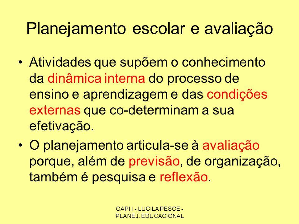 OAPI I - LUCILA PESCE - PLANEJ. EDUCACIONAL Planejamento escolar e avaliação Atividades que supõem o conhecimento da dinâmica interna do processo de e