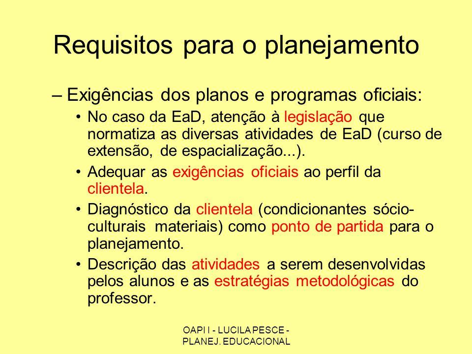 OAPI I - LUCILA PESCE - PLANEJ. EDUCACIONAL Requisitos para o planejamento –Exigências dos planos e programas oficiais: No caso da EaD, atenção à legi