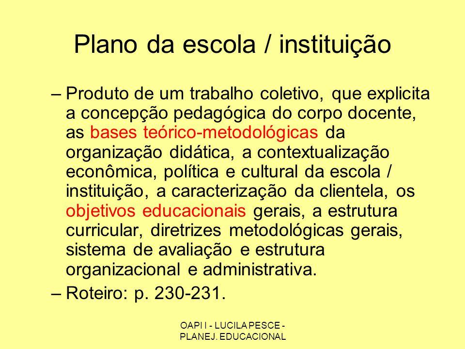 OAPI I - LUCILA PESCE - PLANEJ. EDUCACIONAL Plano da escola / instituição –Produto de um trabalho coletivo, que explicita a concepção pedagógica do co