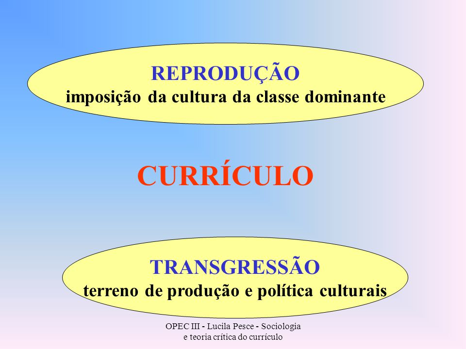 OPEC III - Lucila Pesce - Sociologia e teoria crítica do currículo CURRÍCULO REPRODUÇÃO imposição da cultura da classe dominante TRANSGRESSÃO terreno de produção e política culturais