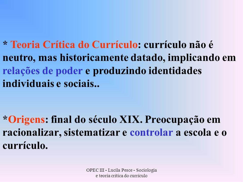 OPEC III - Lucila Pesce - Sociologia e teoria crítica do currículo Início do século XX: * nova ideologia (cooperação e especialização).