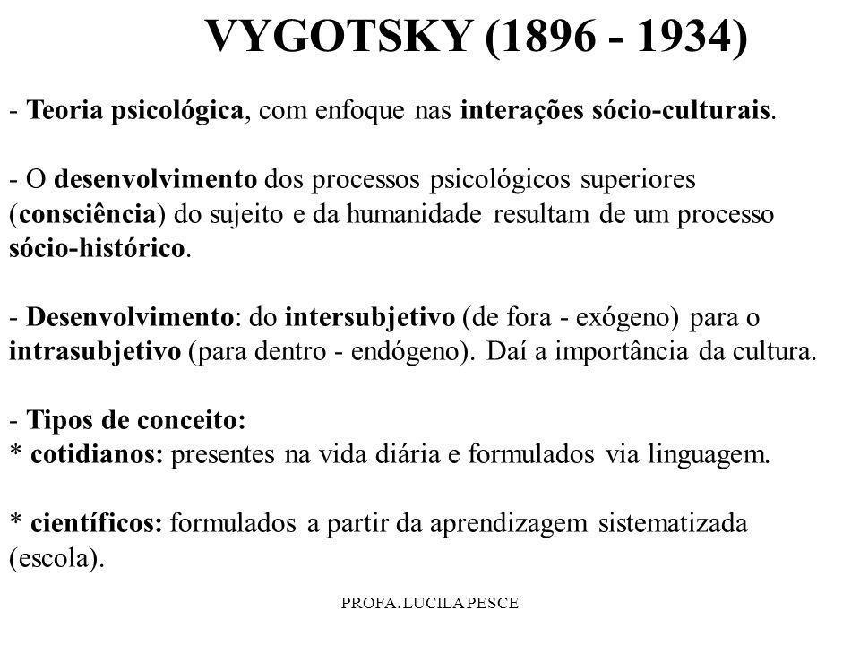 PROFA. LUCILA PESCE - Teoria psicológica, com enfoque nas interações sócio-culturais. - O desenvolvimento dos processos psicológicos superiores (consc