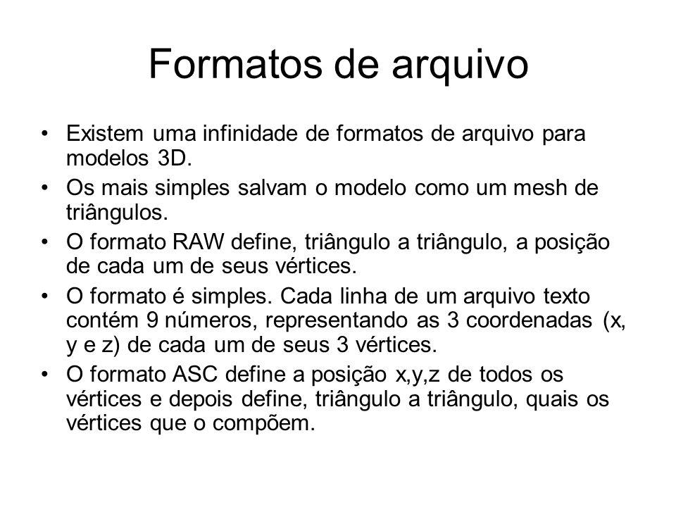 Formatos de arquivo Existem uma infinidade de formatos de arquivo para modelos 3D. Os mais simples salvam o modelo como um mesh de triângulos. O forma