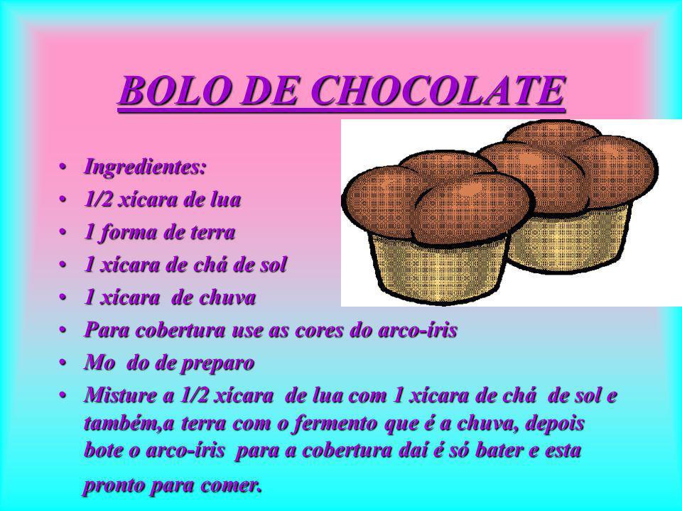 Bolo de chocolate IngredientesIngredientes 100gm de terra100gm de terra 200gm de raio de sol200gm de raio de sol 2 copos cheios de chuva2 copos cheios