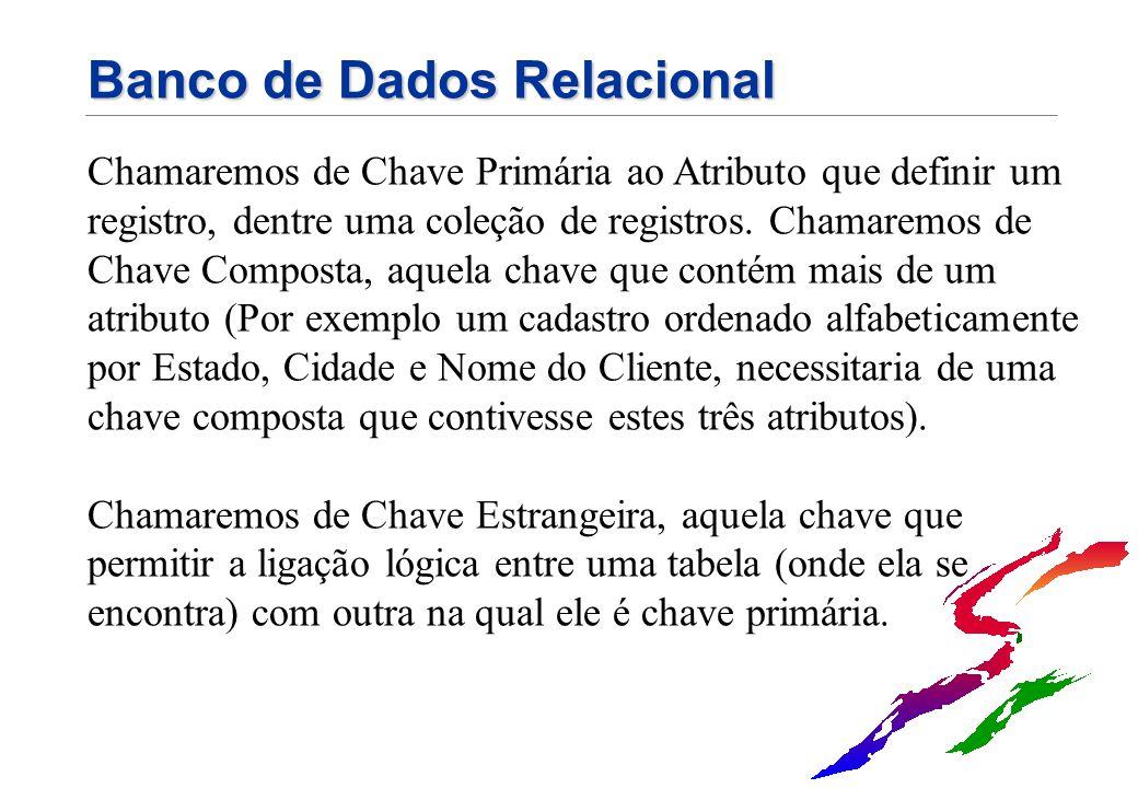 Banco de Dados Relacional Chamaremos de Chave Primária ao Atributo que definir um registro, dentre uma coleção de registros. Chamaremos de Chave Compo