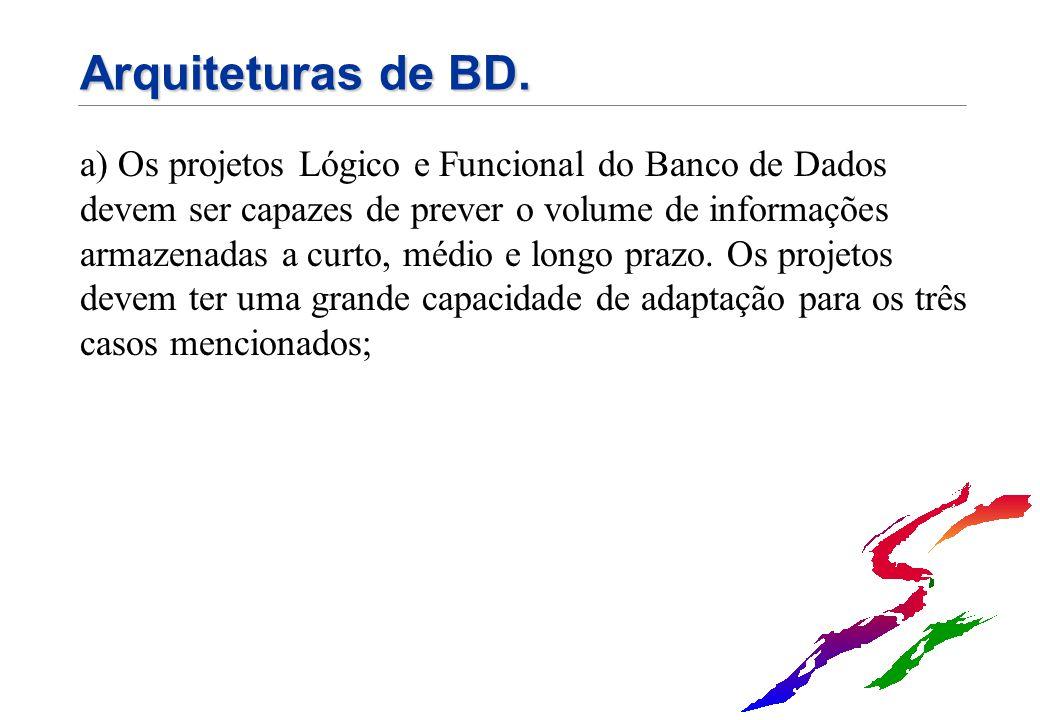 Arquiteturas de BD. a) Os projetos Lógico e Funcional do Banco de Dados devem ser capazes de prever o volume de informações armazenadas a curto, médio