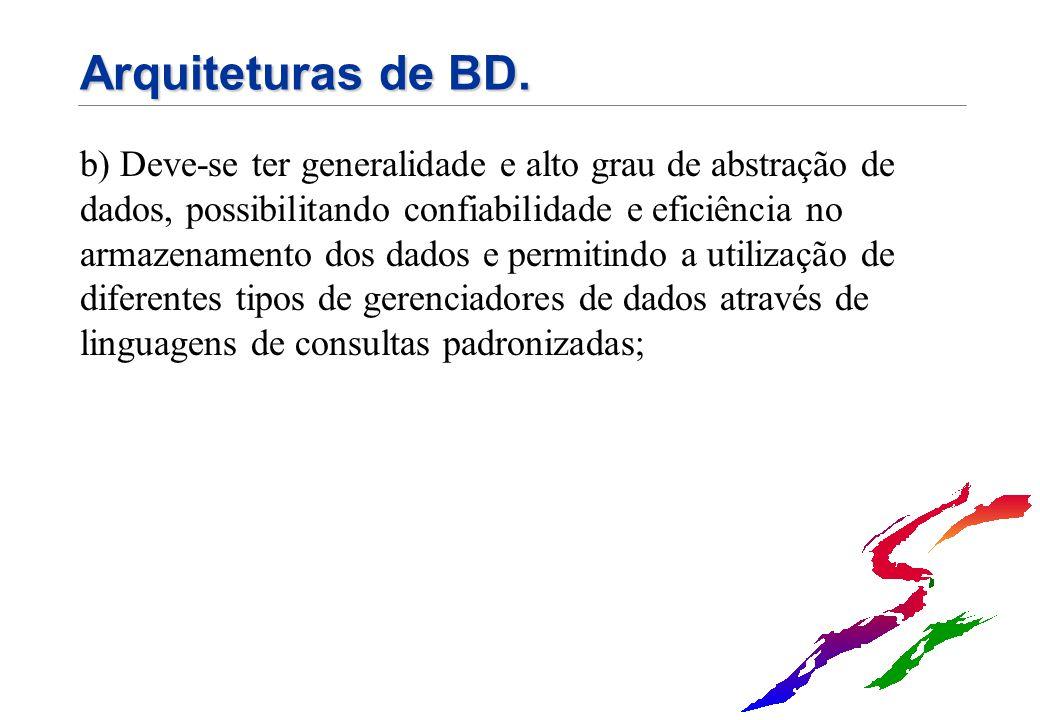 Arquiteturas de BD. b) Deve-se ter generalidade e alto grau de abstração de dados, possibilitando confiabilidade e eficiência no armazenamento dos dad