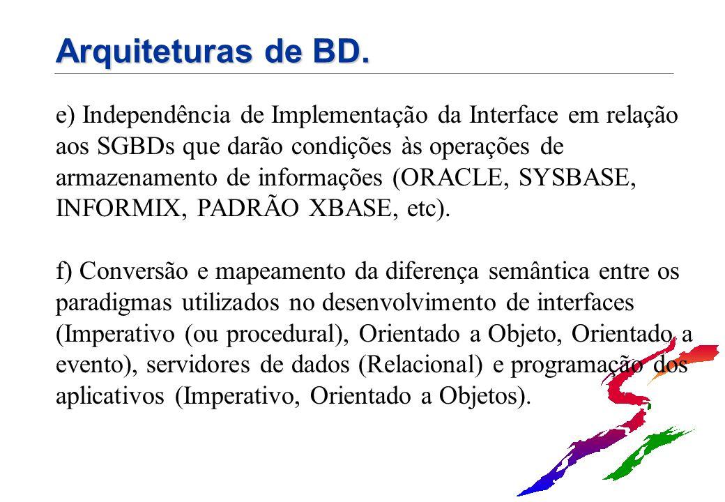 Arquiteturas de BD. e) Independência de Implementação da Interface em relação aos SGBDs que darão condições às operações de armazenamento de informaçõ