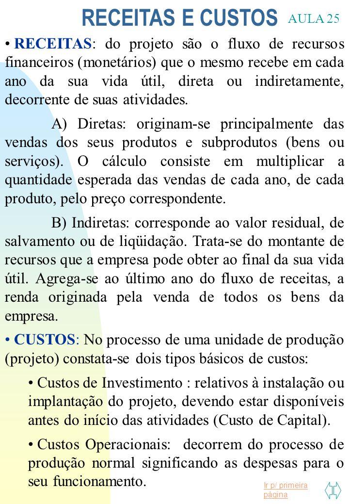 Ir p/ primeira página RECEITAS E CUSTOS AULA 25 RECEITAS: do projeto são o fluxo de recursos financeiros (monetários) que o mesmo recebe em cada ano d