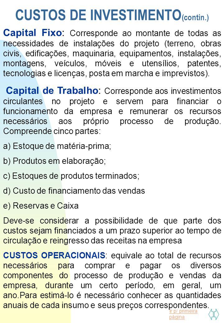 Ir p/ primeira página CUSTOS DE INVESTIMENTO (contin.) Capital Fixo: Corresponde ao montante de todas as necessidades de instalações do projeto (terre