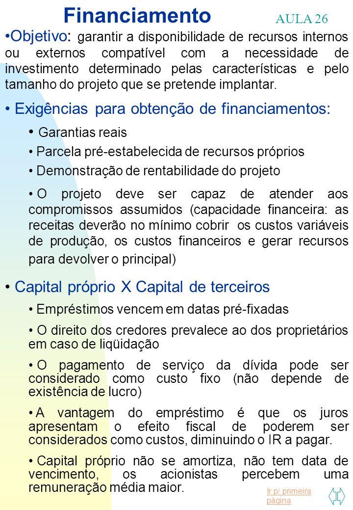 Ir p/ primeira página Financiamento AULA 26 Objetivo: garantir a disponibilidade de recursos internos ou externos compatível com a necessidade de inve