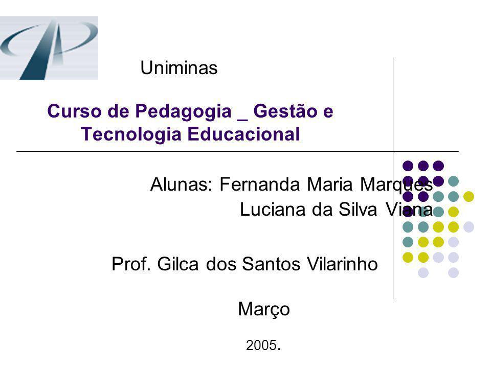 Curso de Pedagogia _ Gestão e Tecnologia Educacional Alunas: Fernanda Maria Marques Luciana da Silva Viana Prof. Gilca dos Santos Vilarinho Março 2005