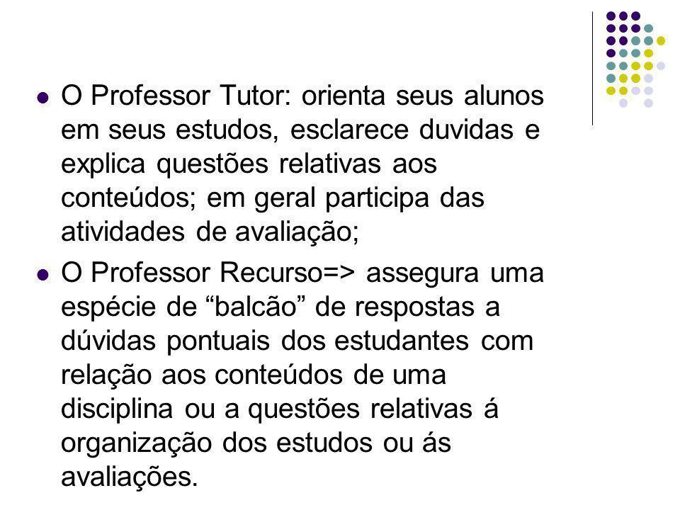 O Professor Tutor: orienta seus alunos em seus estudos, esclarece duvidas e explica questões relativas aos conteúdos; em geral participa das atividade