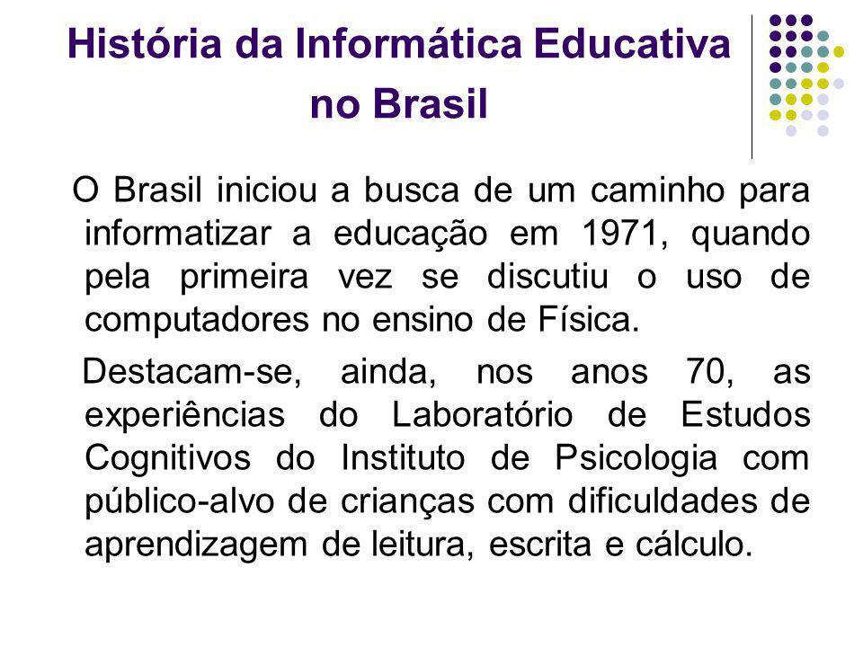 História da Informática Educativa no Brasil O Brasil iniciou a busca de um caminho para informatizar a educação em 1971, quando pela primeira vez se d