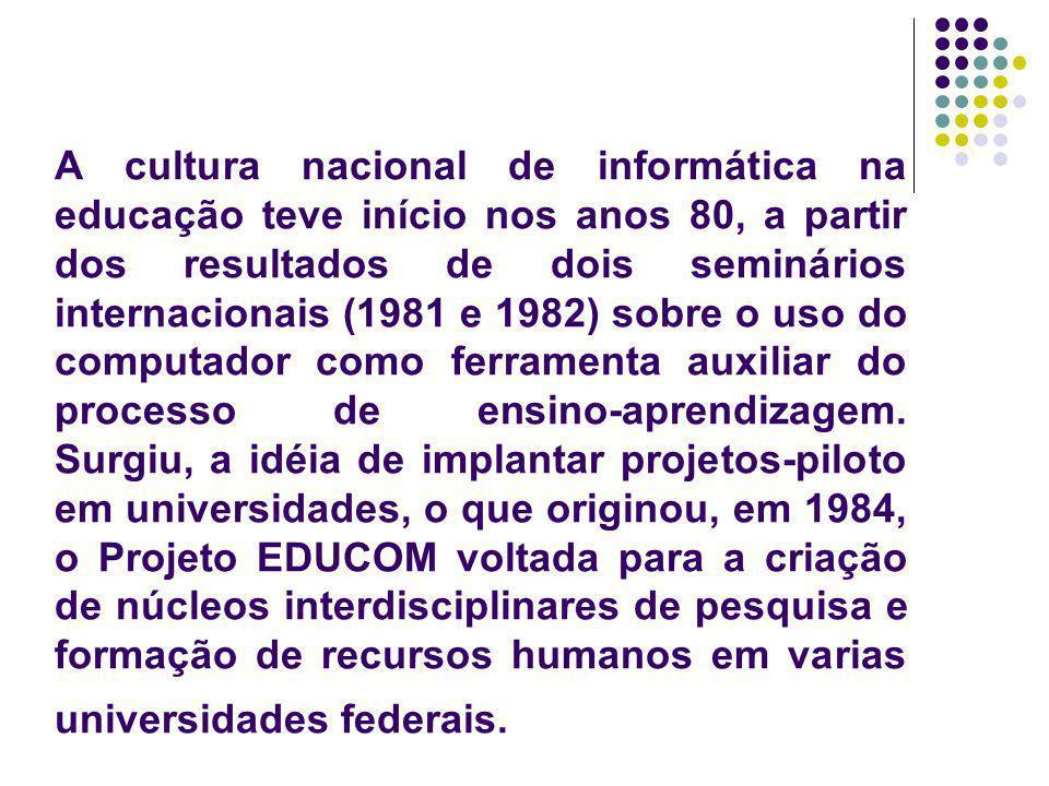 O MEC criou, em 1986, o Programa de Ação Imediata em Informática na Educação de 1o e 2o grau, destinado a capacitar professores e a implantar infra-estruturas de suporte nas secretarias e instituições de ensino.