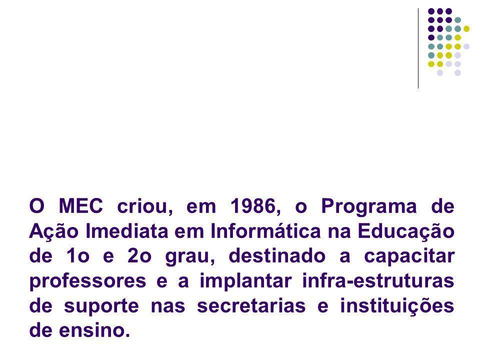 O MEC criou, em 1986, o Programa de Ação Imediata em Informática na Educação de 1o e 2o grau, destinado a capacitar professores e a implantar infra-es