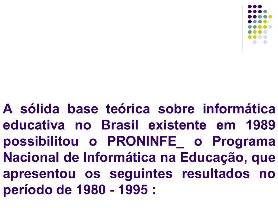 A sólida base teórica sobre informática educativa no Brasil existente em 1989 possibilitou o PRONINFE_ o Programa Nacional de Informática na Educação,