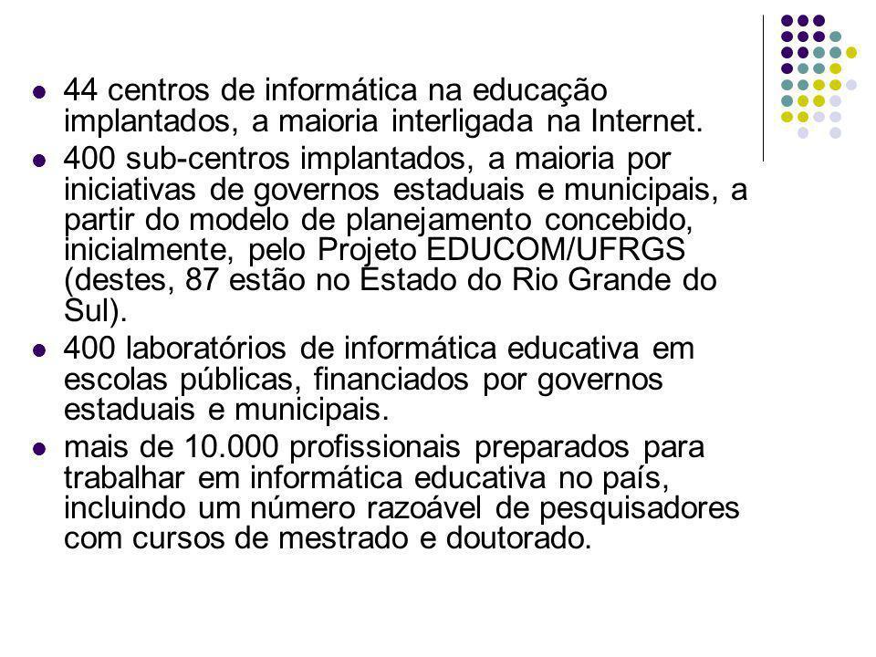 44 centros de informática na educação implantados, a maioria interligada na Internet. 400 sub-centros implantados, a maioria por iniciativas de govern