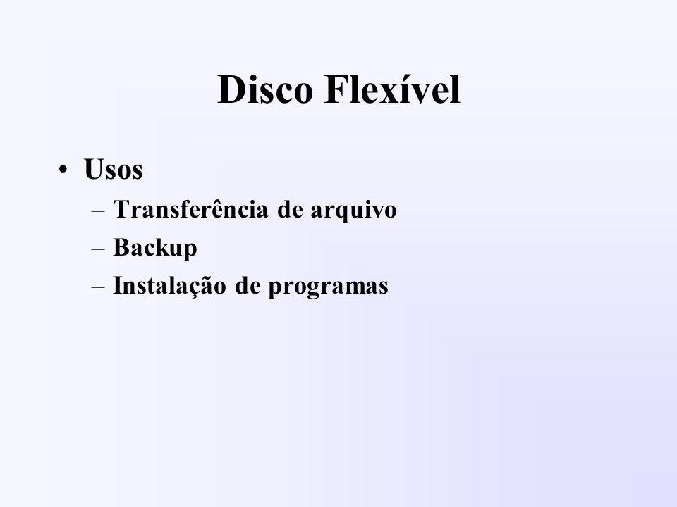 Disco Flexível Usos –Transferência de arquivo –Backup –Instalação de programas