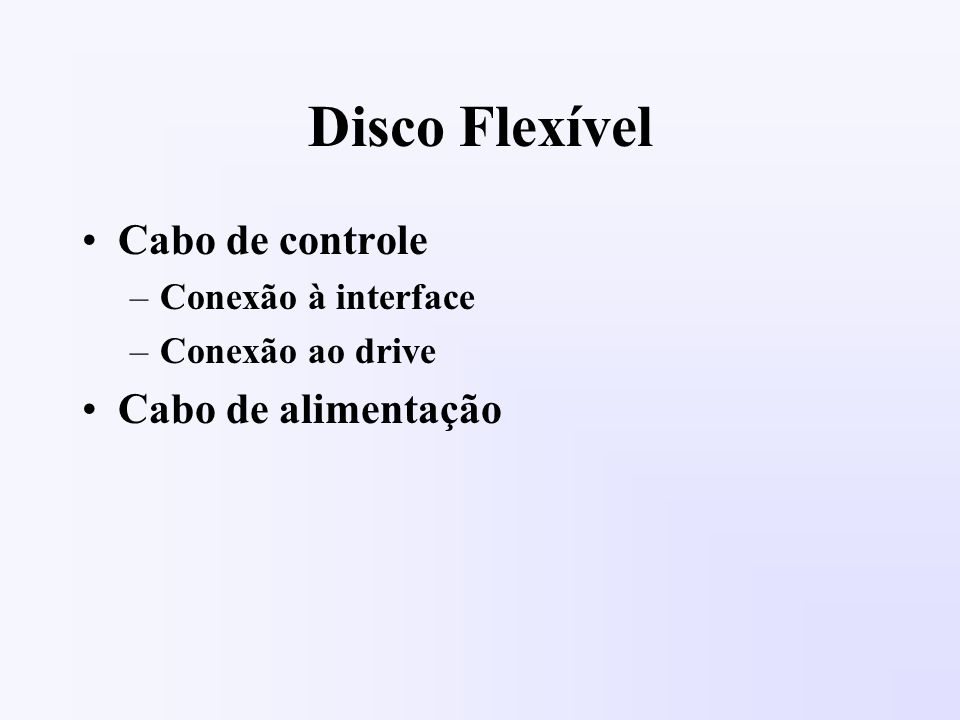Disco Flexível Cabo de controle –Conexão à interface –Conexão ao drive Cabo de alimentação