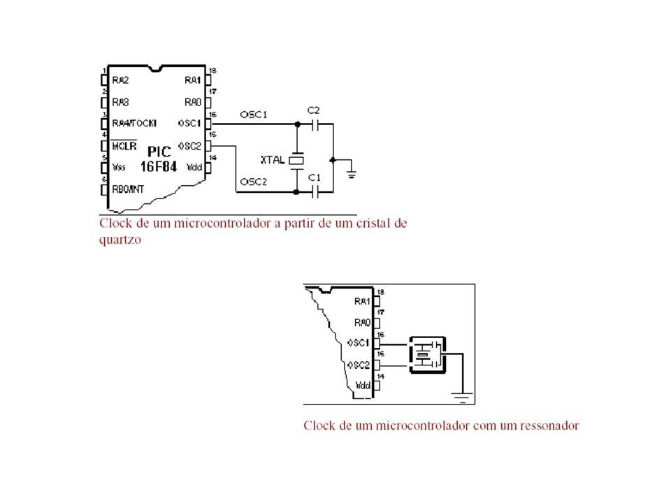 RESET O reset é usado para colocar o microcontrolador num estado conhecido.
