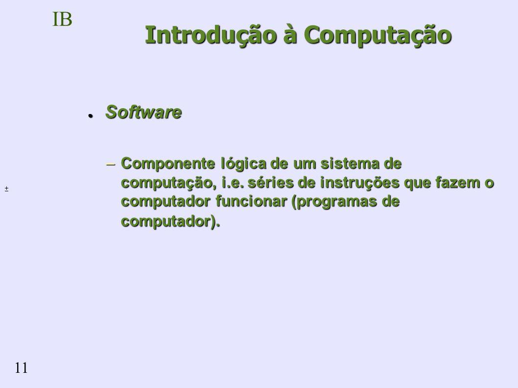 IB 11 Software Software –Componente lógica de um sistema de computação, i.e.
