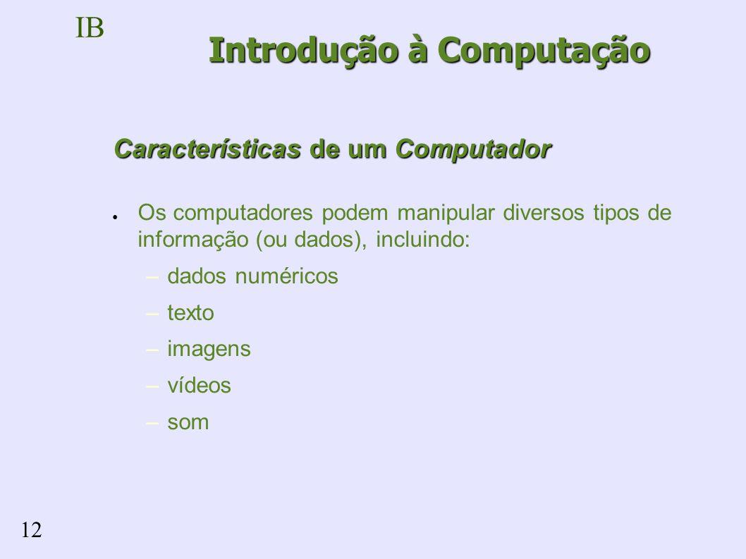 IB 12 Características de um Computador Os computadores podem manipular diversos tipos de informação (ou dados), incluindo: –dados numéricos –texto –imagens –vídeos –som Introdução à Computação