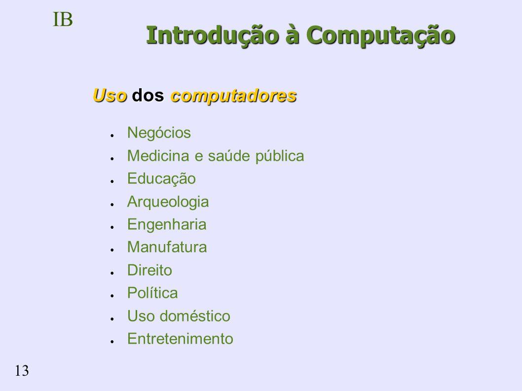 IB 13 Negócios Medicina e saúde pública Educação Arqueologia Engenharia Manufatura Direito Política Uso doméstico Entretenimento Uso dos computadores Introdução à Computação