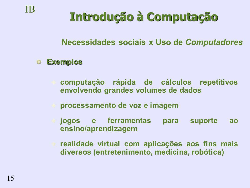 IB 15 Exemplos Exemplos computação rápida de cálculos repetitivos envolvendo grandes volumes de dados processamento de voz e imagem jogos e ferramentas para suporte ao ensino/aprendizagem realidade virtual com aplicações aos fins mais diversos (entretenimento, medicina, robótica) Introdução à Computação Necessidades sociais x Uso de Computadores