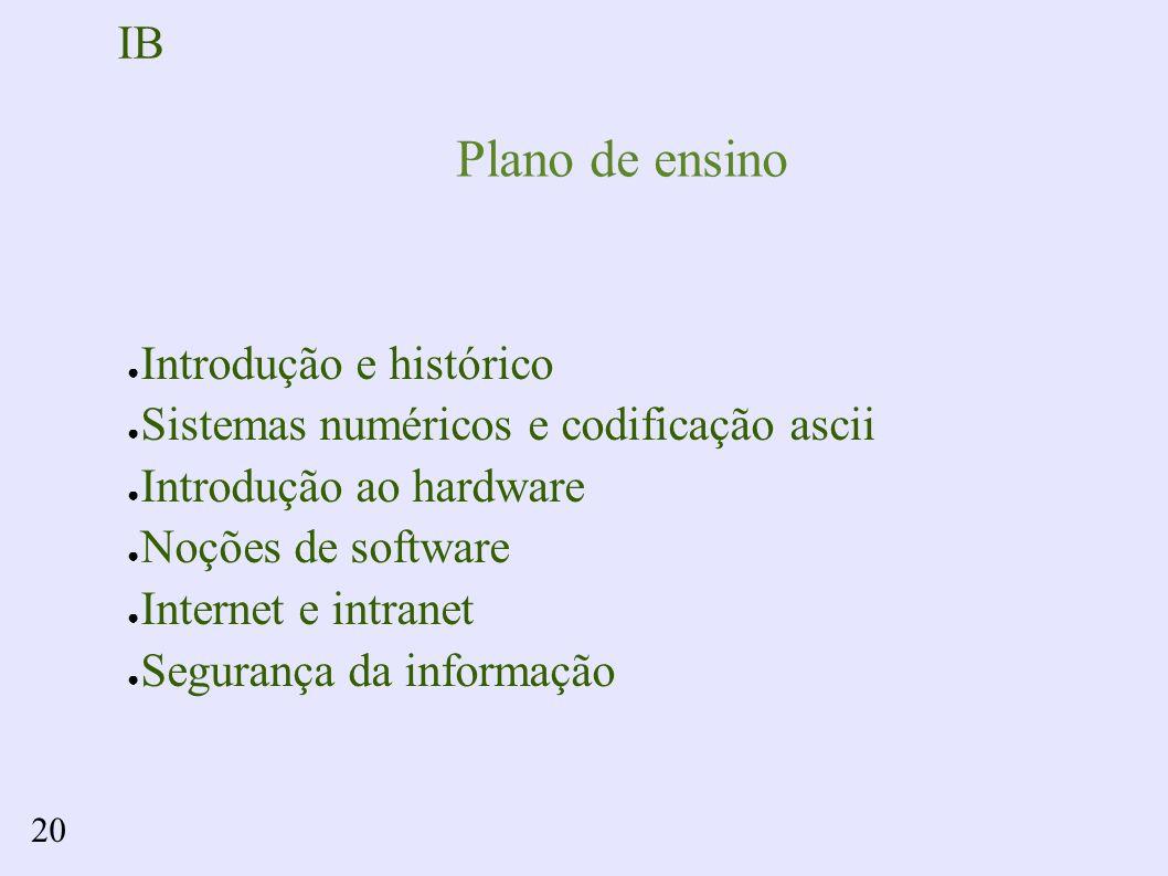 IB 20 Plano de ensino Introdução e histórico Sistemas numéricos e codificação ascii Introdução ao hardware Noções de software Internet e intranet Segurança da informação