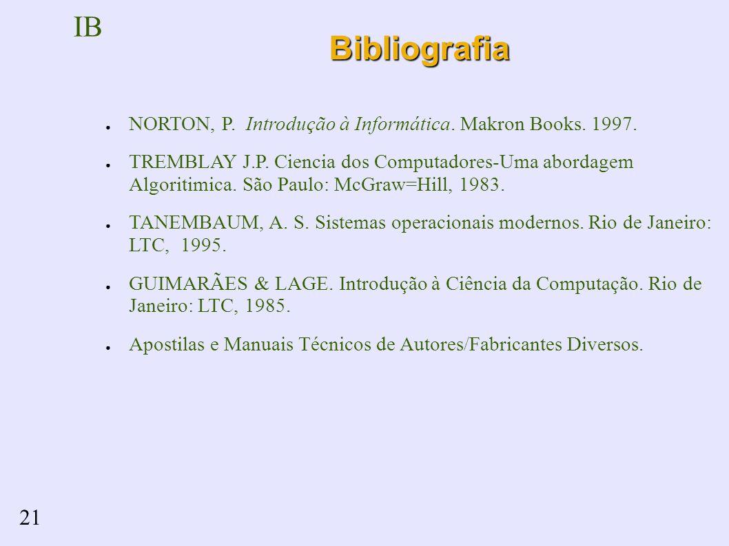 IB 21Bibliografia NORTON, P. Introdução à Informática.