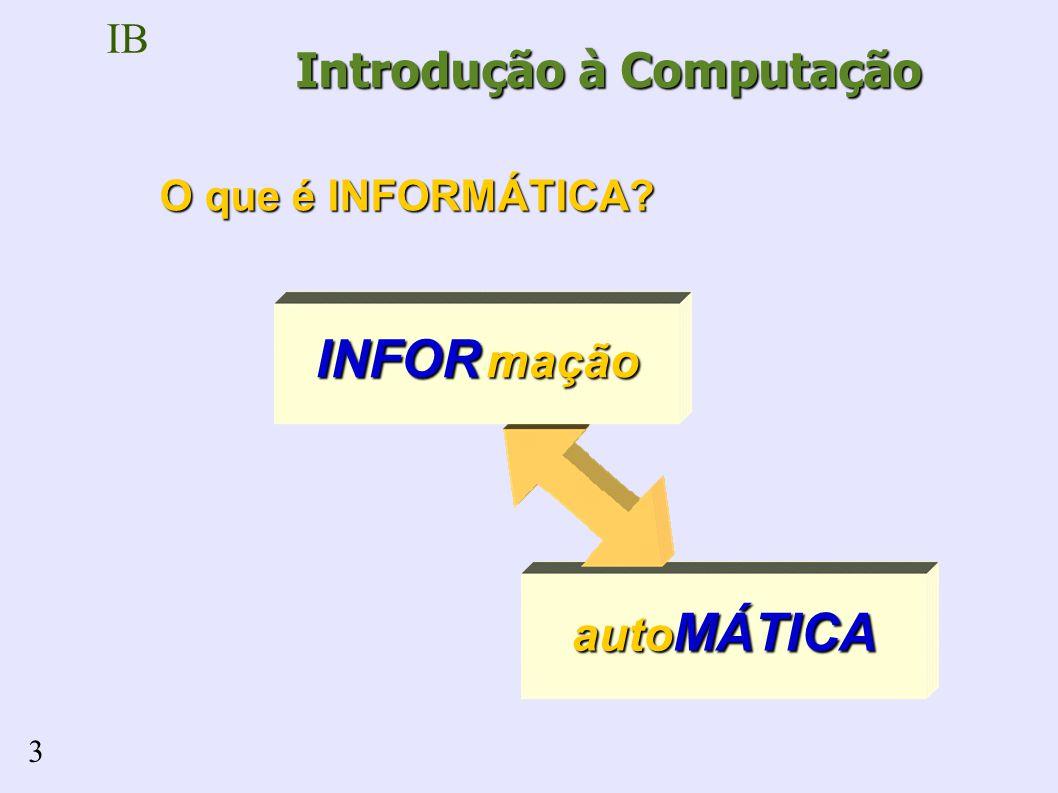IB 3 auto MÁTICA INFOR mação Introdução à Computação O que é INFORMÁTICA?