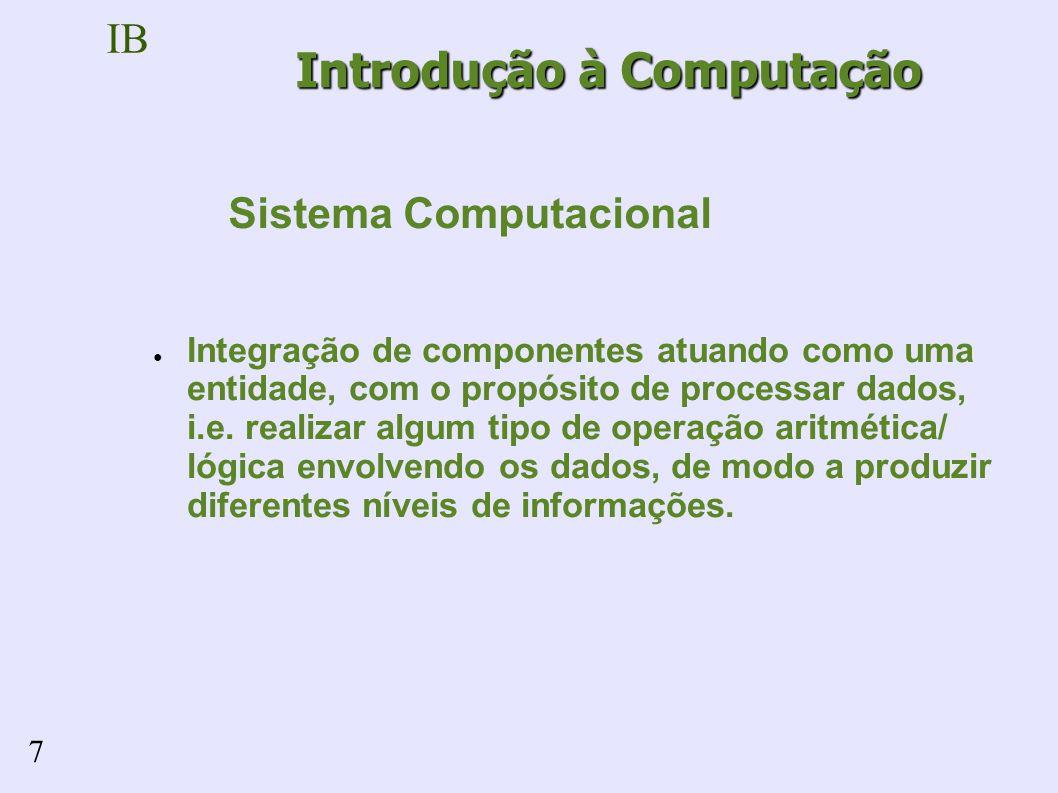 IB 7 Integração de componentes atuando como uma entidade, com o propósito de processar dados, i.e.